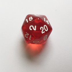 D20 Dice - Dé D20 rouge transparent  22mm