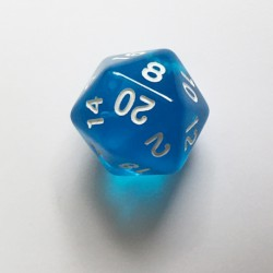 D20 Dice - Dé D20 bleu transparent  22mm
