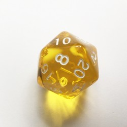 D20 Dice - Dé D20 jaune transparent  22mm