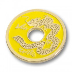 Pièce chinoise jaune (taille demi dollar)