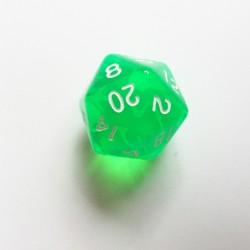 D20 Dice - Dé D20 vert transparent  22mm