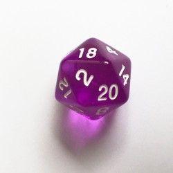 D20 Dice - Dé D20 violet transparent  22mm