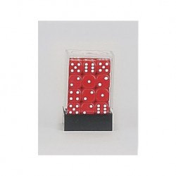 36 mini dés rouges - Red Rounded Corners Opaque 12mm (36 Dice)