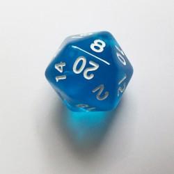 D20 Dice - Dé D20 bleu transparent  22mm